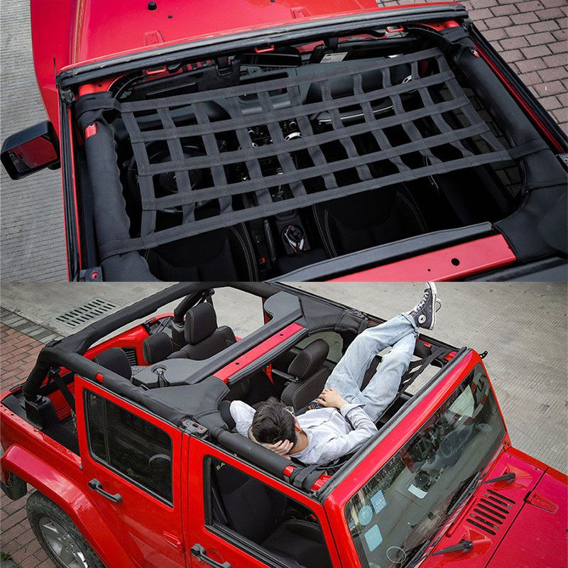 New Heavy Duty Cargo Roof Top Soft Cover Rest Bed Hammock for Jeep Wrangler JK 07-18 DXY88