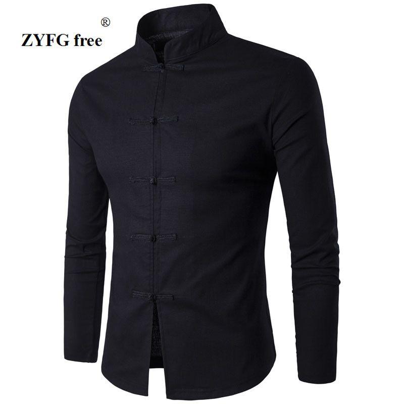 Camisa de Estilo de la Tradición China de los hombres 2017 Nueva Llegada Masculina Camisa de lino de Manga Larga Casual de Negocios de Cuello Mao Color Sólido
