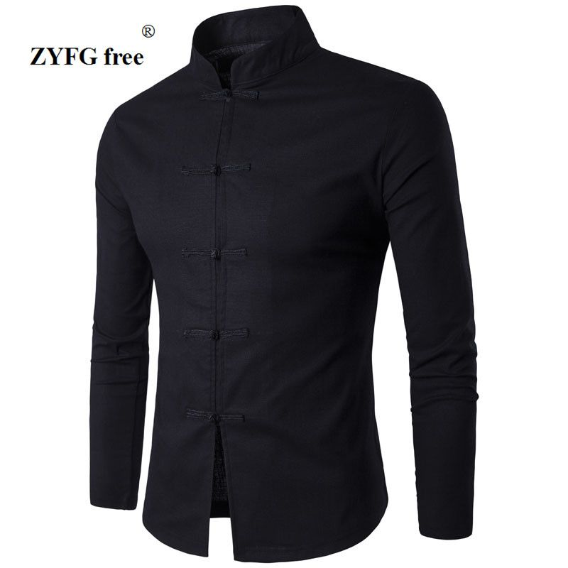 Men's Shirt Chinese Tradition Style 2017 New Arrival Male Solid Color Mandarin Collar Business Long Sleeve Casual Shirt linen