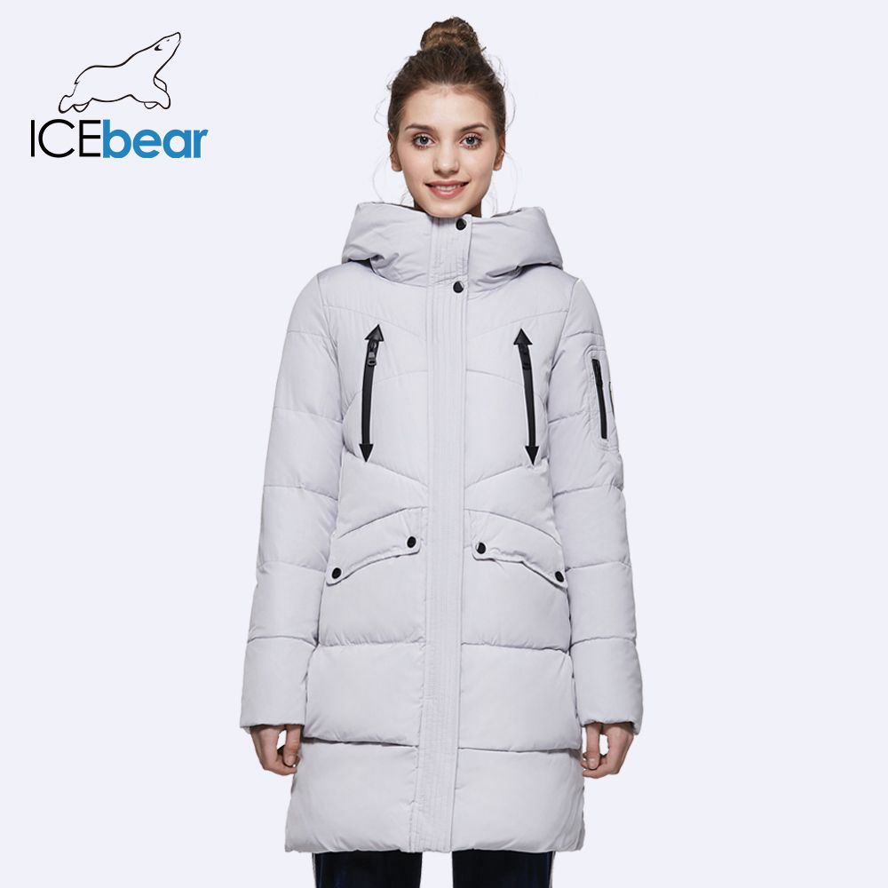 ICEbear 2016 100% Polyester Soft Fabric Bio Down Five Colors Hooded Coat Woman Clothes Winter Jacket With Pockets 16G6155D