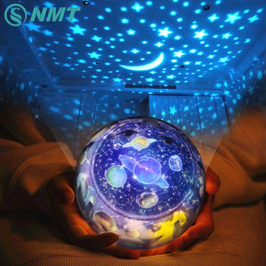 Cielo estrellado Tierra Rotación Proyector LED Luz de La Noche del USB AA Pilas LLEVÓ LA Luz Lámpara de La Noche de La Novedad Del Bebé para la Navidad regalo