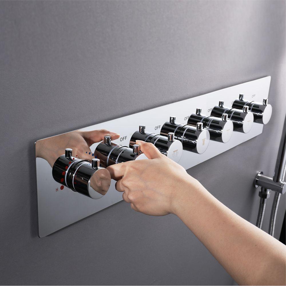Bad Dusche Ventil Misch Großen Wasser Fluss Dusche Armaturen 6 Möglichkeiten Thermostat Messing Umsteller Ventile Dusche Controller Chrom