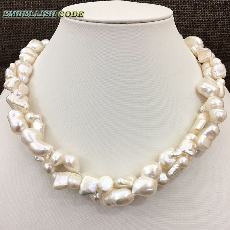 NEW kind of large size Baroque keshi stely Peanut and elongate shape twisted natural freshwater pearl statement necklace jewelry