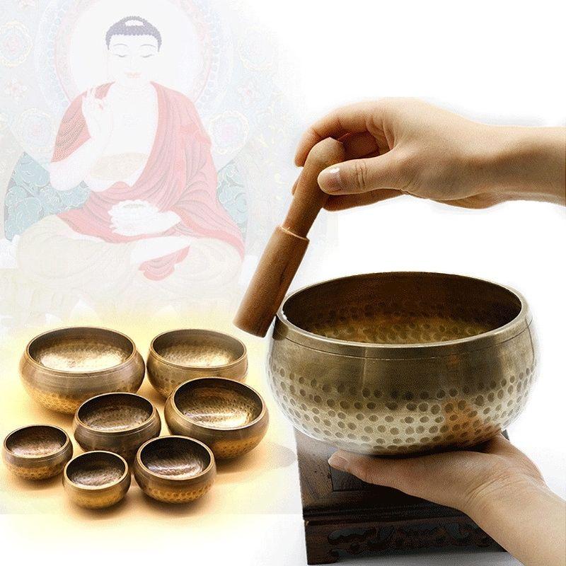 Тибетский Буддизм Поющая чаша стороны молотком Йога Медь чакры медитация подарок Relax успокаивающий звук медитации специалистов