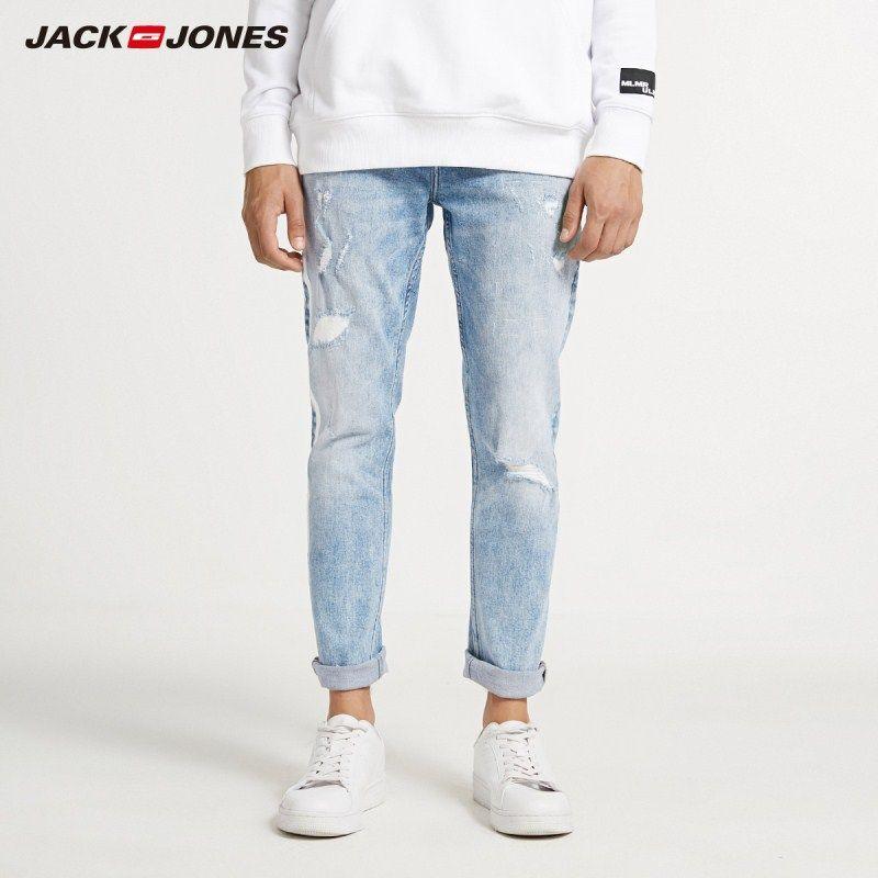 JackJones hommes Skinny serré jambe déchiré Crop Jeans hommes Denim pantalon 218332607