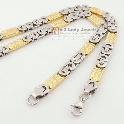 GOKADIMA In Two Tone men metal design stainless steel boy necklaces cool jewelry 54cm 8mm Wholesale Accessory N182