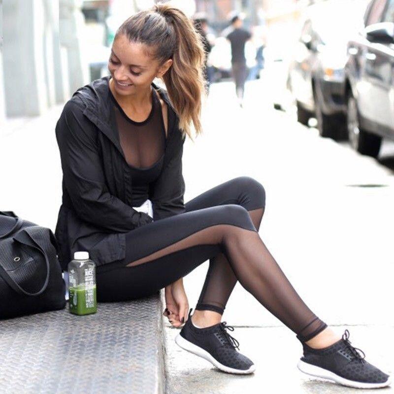2017 Chaude Femmes Sexy Yoga Pantalon Noir Sport Pantalon Élastique Fitness Gym Workout Pants pantalon à Courir Sport Leggings Pantalons Femmes