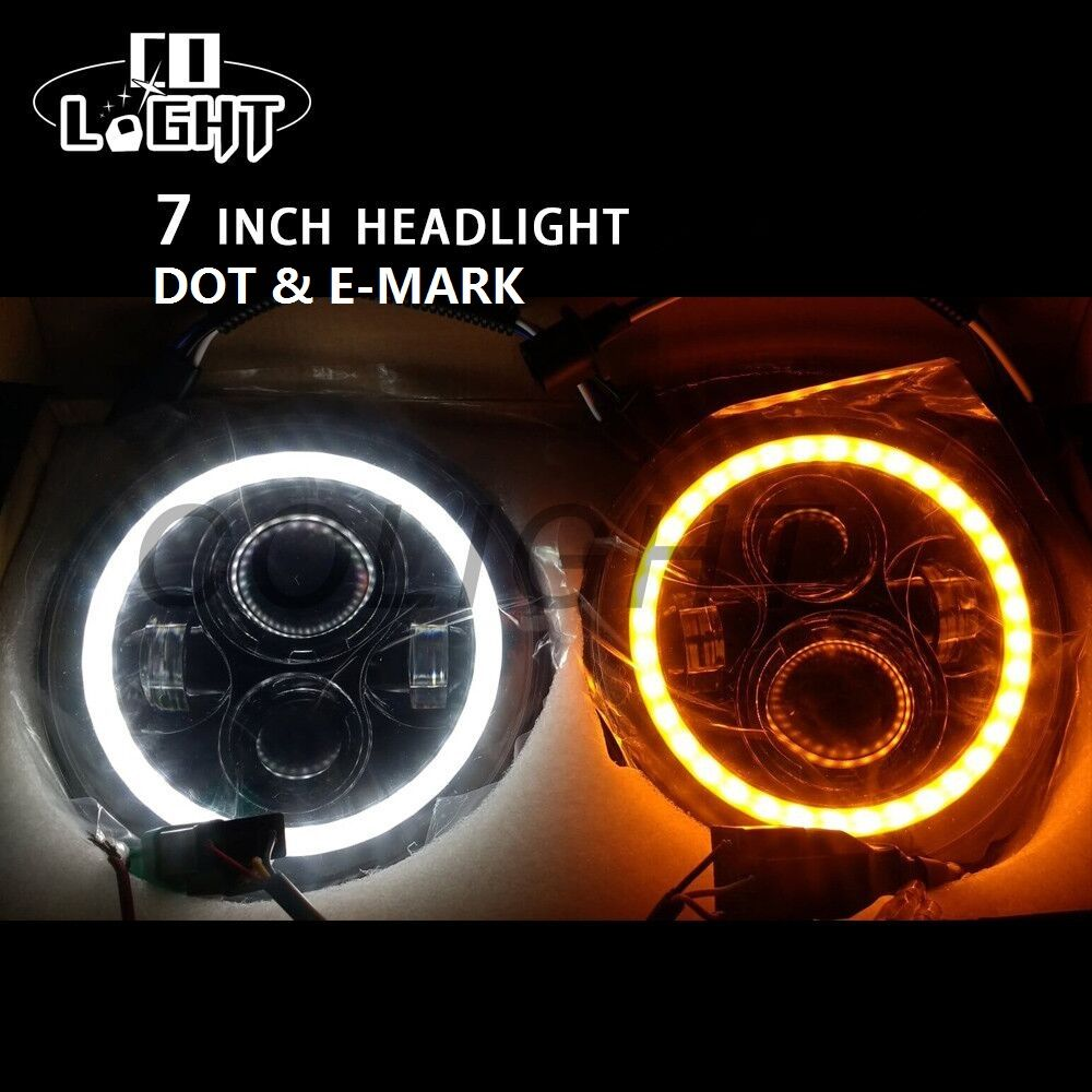 CO LIGHT 7 Inch Led Headlight H4 DRL Round 7'' Headlights with Yellow & White Angel Eye for Jeep Wrangler Lada Niva 4x4 50W 30W