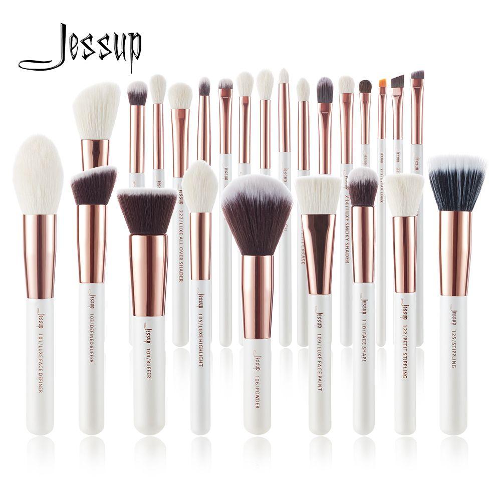 Jessup pinceaux blanc perle/or Rose pinceaux de maquillage set professionnel beauté maquillage brosse cheveux naturels fond de teint poudre fards