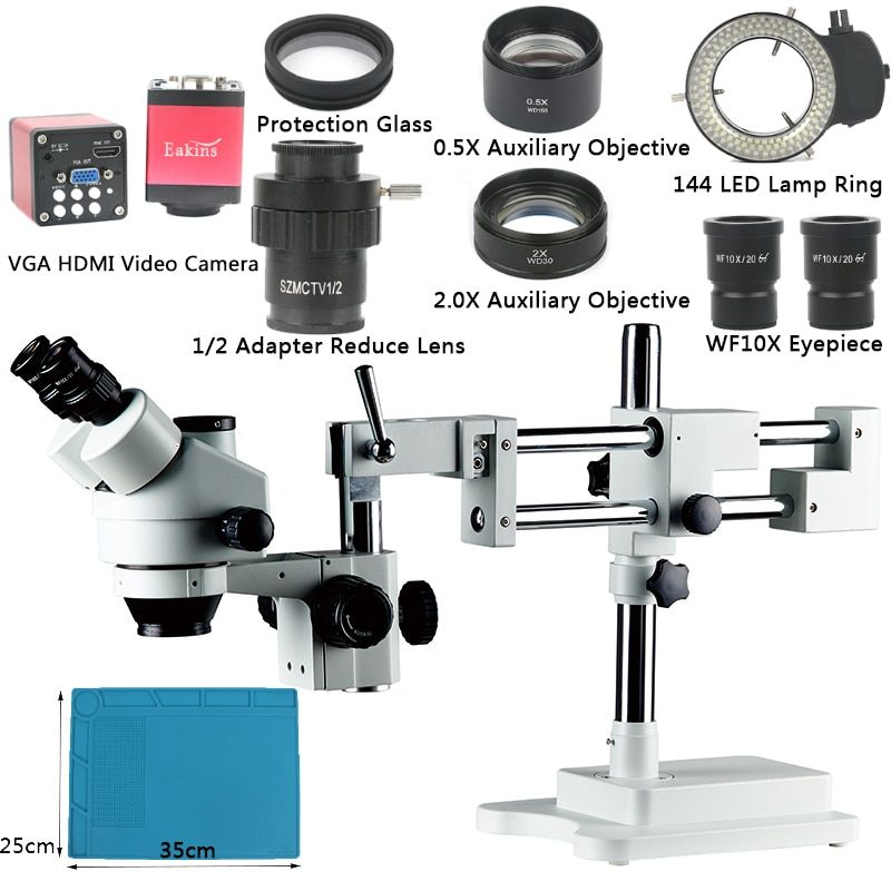 3.5X 7X 45X 90X Zoom Simul-focal Double Boom Stand Trinocular Stereo Microscope VGA HDMI Video Camera For Phone PCB Soldering