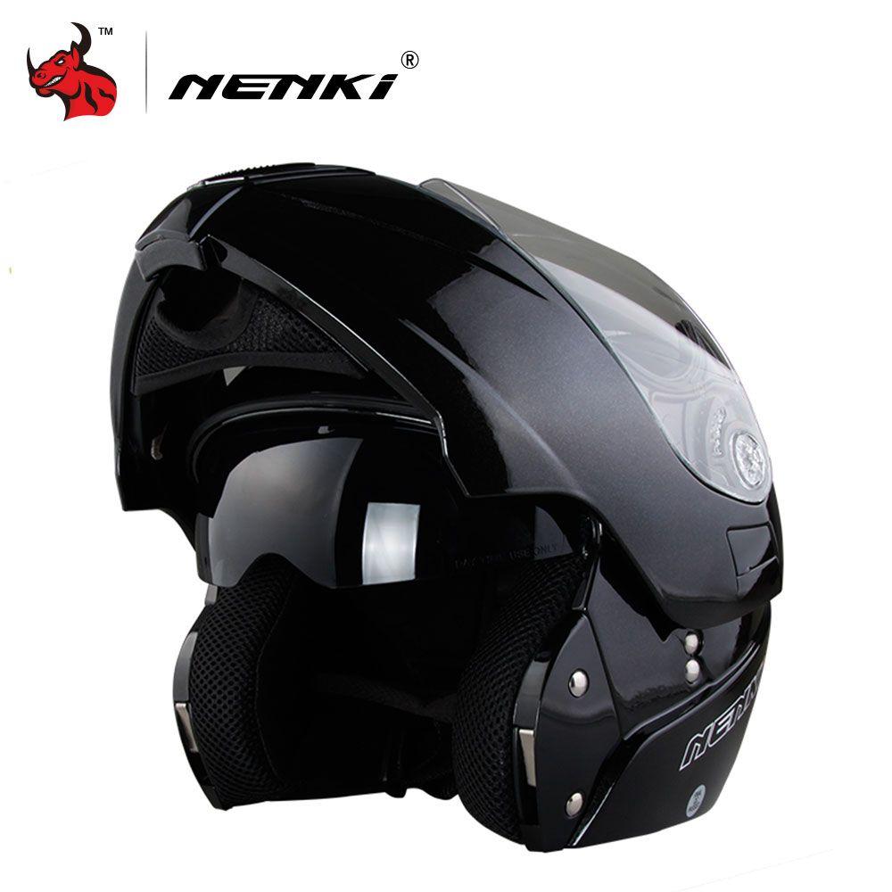 Nenki sichere flip up motorrad helm capacete de moto mit innensonnenblende schwarz motorrad racing off road helm