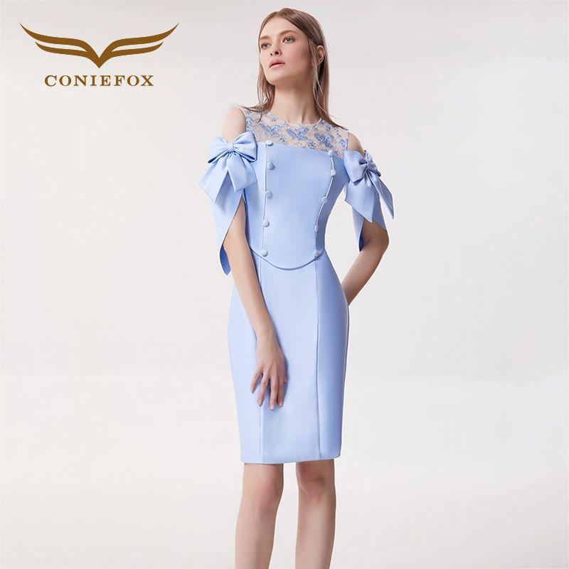CONIEFOX 32185 Sexy Fashion Lace banquet blue mermaid Ladies Retro elegance Appliques prom dresses party evening dress gown