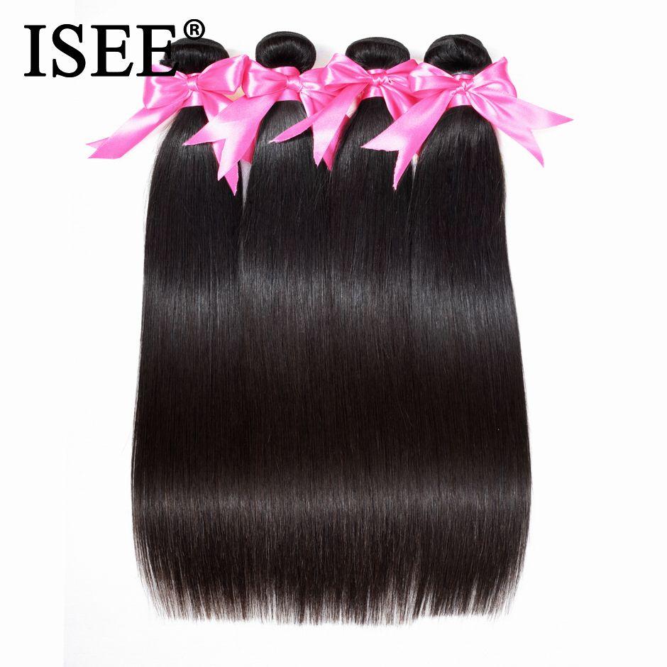 Brésilienne Cheveux Raides Weave Bundles 100% Non Transformés Vierge de Cheveux Humains Extension 10-36 pouce Peut Acheter 1/3 /4 faisceaux ISEE CHEVEUX