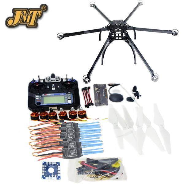 JMT Six-Axis Hexacopter Unassembled GPS Drone Kit with Flysky FS-i6 6CH 2.4G TX&RX APM 2.8 Multicopter Flight Controller