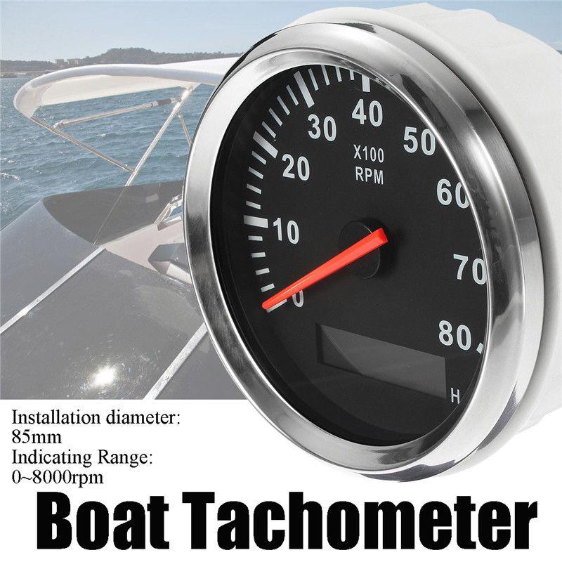 Boat Tachometer Marine Tacho Meter Gauge LCD Hourmeter 12V/24V 8000 RPM 85mm Boat Tachometer