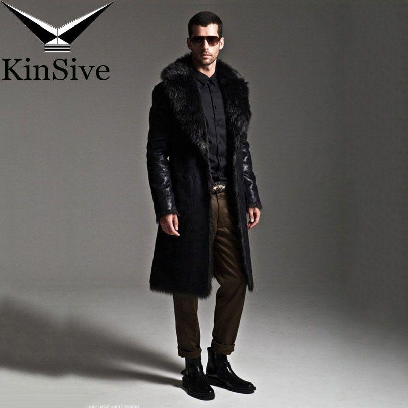 Männer Mäntel Luxus Faux Pelzmantel Sowohl Seite Großen Herren Größe Winter Jacken Lange Leder Trenchcoat Echtem Pelz Marke kleidung