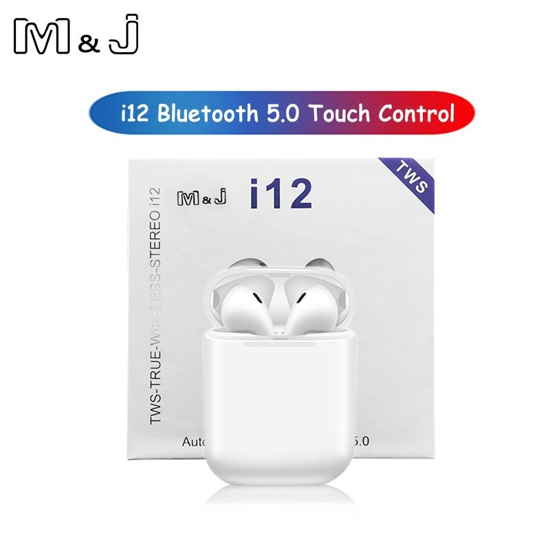 M&J i12 tws Touch control Wireless Bluetooth 5.0 Earphones 3D super bass Headphones pk i10 tws i20 i30 i60 TWS for iPhone xiaomi