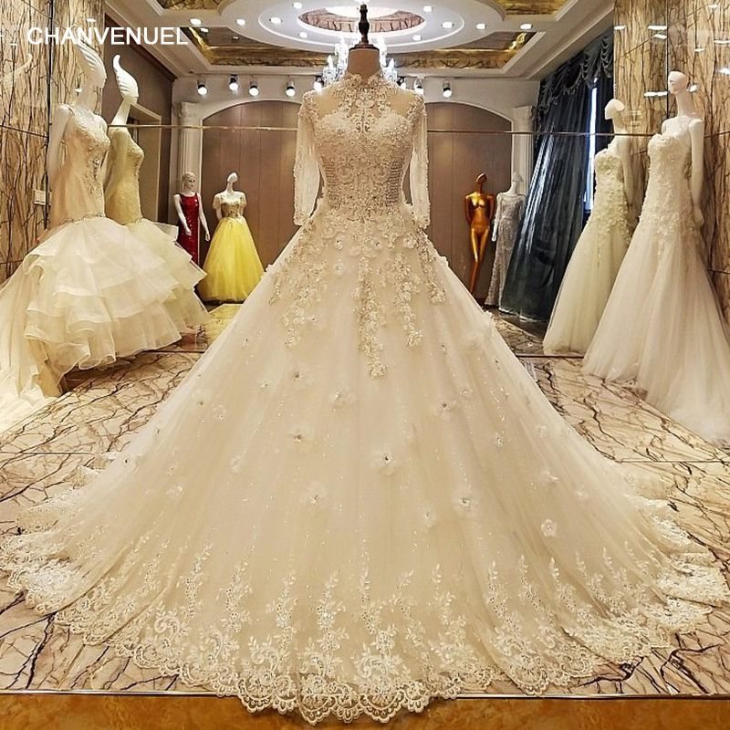 LS37053 robe de mariage 2017 lace up back floor length ball gown lace wedding dresses organza real photos