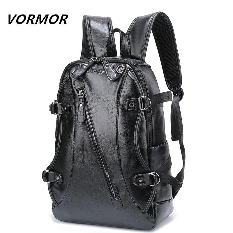 VORMOR High Quality Practical PU Leather Mens Backpack Famous Brand Casual Men Laptop Backpack Black School Travel Backpack