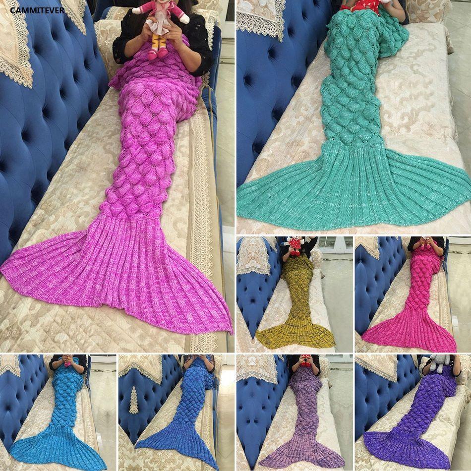 CAMMITEVER couverture sirène queue de sirène laine pour housse de canapé adultes enfants se détendre dormir sieste couvertures colorées