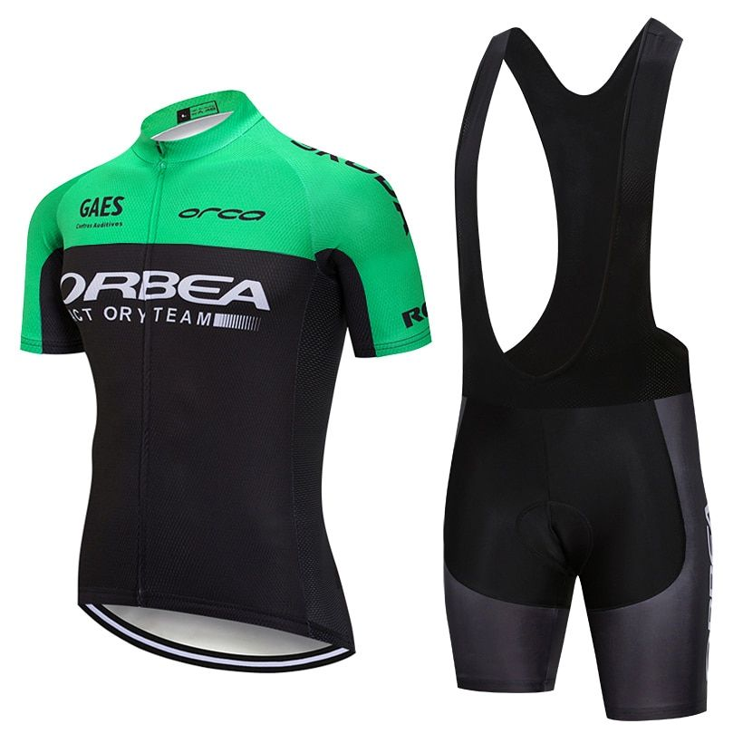 2018 Green ORBEA cycling team jersey 9D gel pad bike shorts suit MTB Ropa Ciclismo mens summer bicycling Maillot culotte wear