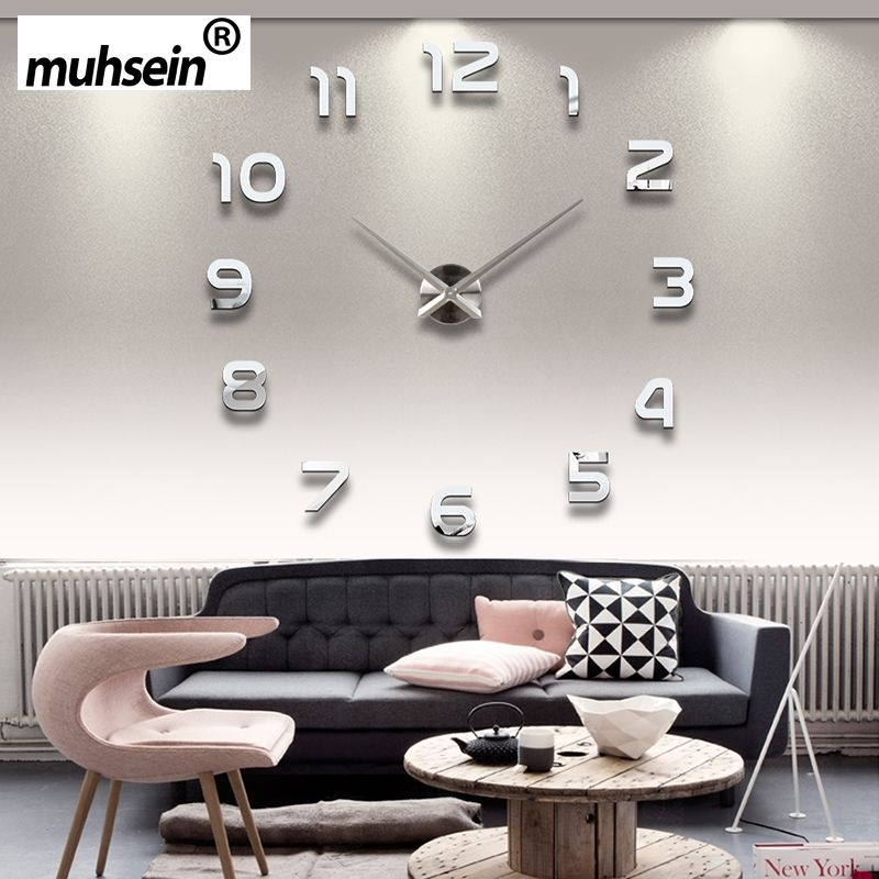 Новинка 2017 года Металл Moderne 3D DIY настенные часы акрил + EVR + металл зеркало украшения дома Супер Большой 130 см x 130 см фабрики Бесплатная доставк...