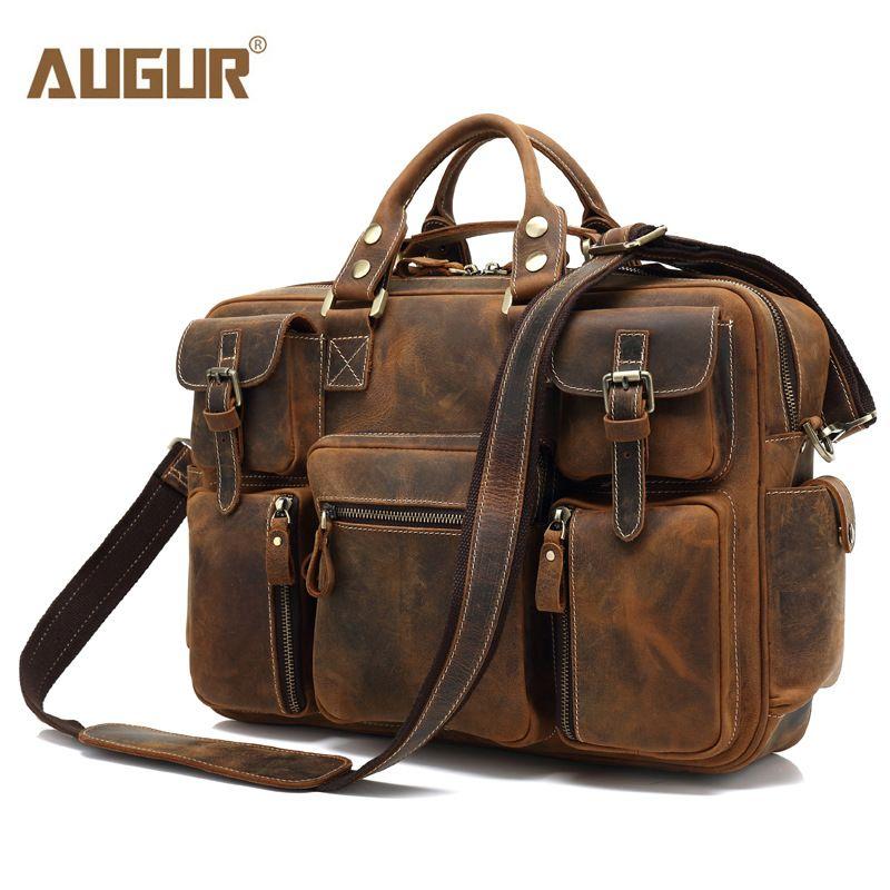 AUGUR Men Buiniess Travel Shoulder Bags Brand Crazy Horse Men Handbags Retro Genuine Leather High Quality Bag