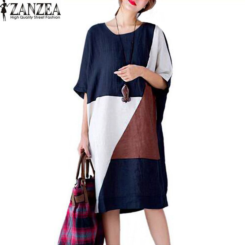 Plus Size ZANZEA Womens Summer Patchwork O-Neck Short Sleeve Pockets <font><b>Party</b></font> Vestido 2018 Baggy Casual Long Shirt Dress Kaftan