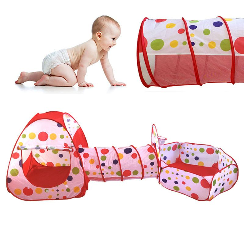 Portable Pool-<font><b>Tube</b></font>-Teepee Baby Play Tent House Foldable 3pc Pop-up Crawling Tunnel Ocean Ball Playing Tent Kids Secret House