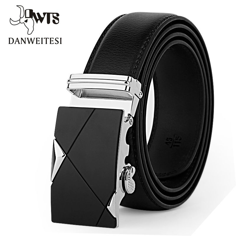 DWTS Men Belt Male Genuine Leather Belt Strap Belts For Men Top Quality Automatic Buckle black Belts Cummerbunds cinturon hombre