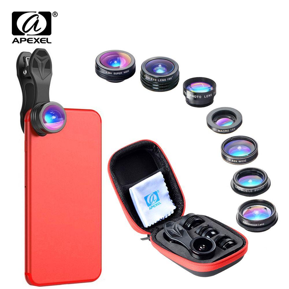 APEXEL 7 dans 1 Téléphone Lentille Kit Fisheye fish eye super Grand Angle macro Lentille CPL Filtre Kaléidoscope et 2X zoom Lens forsmartphone