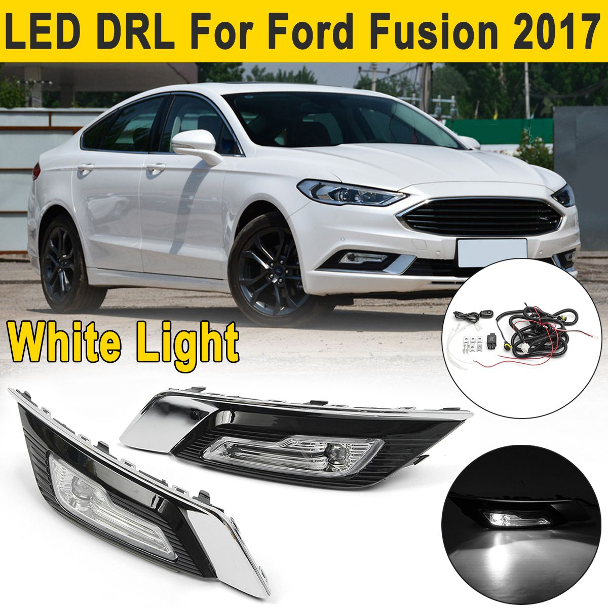 2Pcs LED DRL Daytime Running Lights Lamps Turn Signal Fog Lights Wire for Ford for Fusion for Mondeo 2017 2018 Driving Light