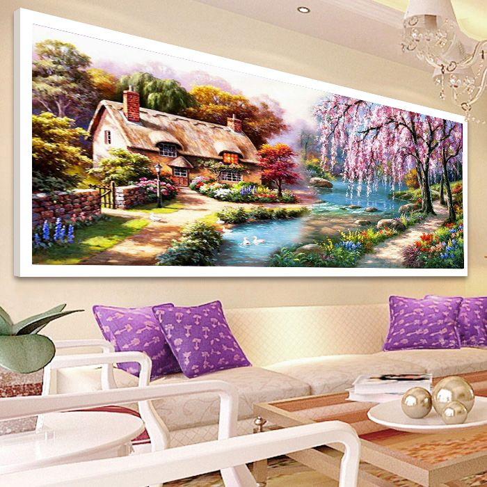 2018 DIY 5D Full Square diamond painting, landscape painting, lakeside willow, Diamond Cross Stitch suite, home decor D1680