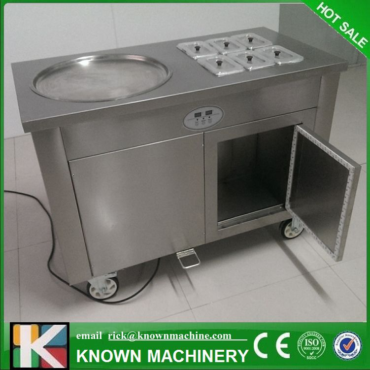 Fried ice cream roller machine with pot cover and 6 fruit tanks Free shipping by sea