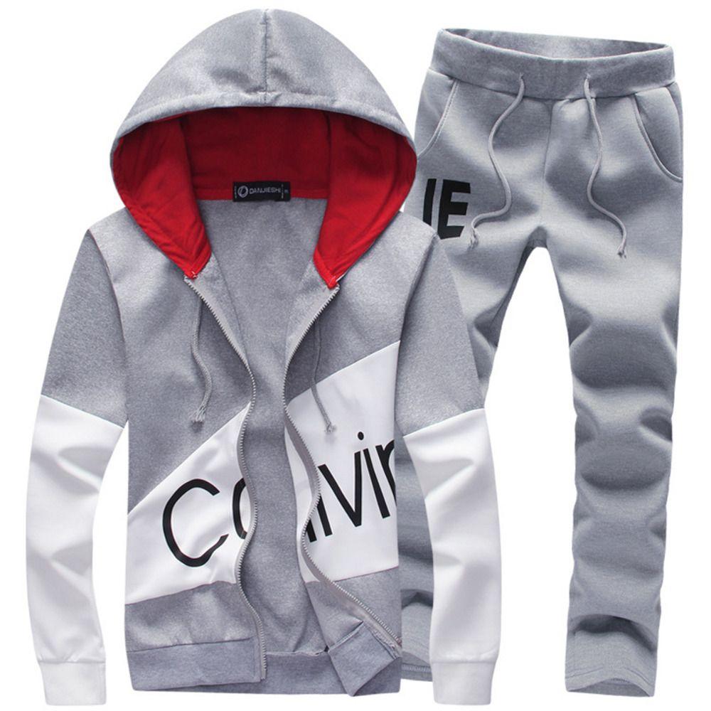 Men Fashion Two Pieces Sets Casual Tracksuit Male 2018 Sweatshirt+Pants Suits Men Plus Size 5XL Hoodies Set sweatshirts dropship
