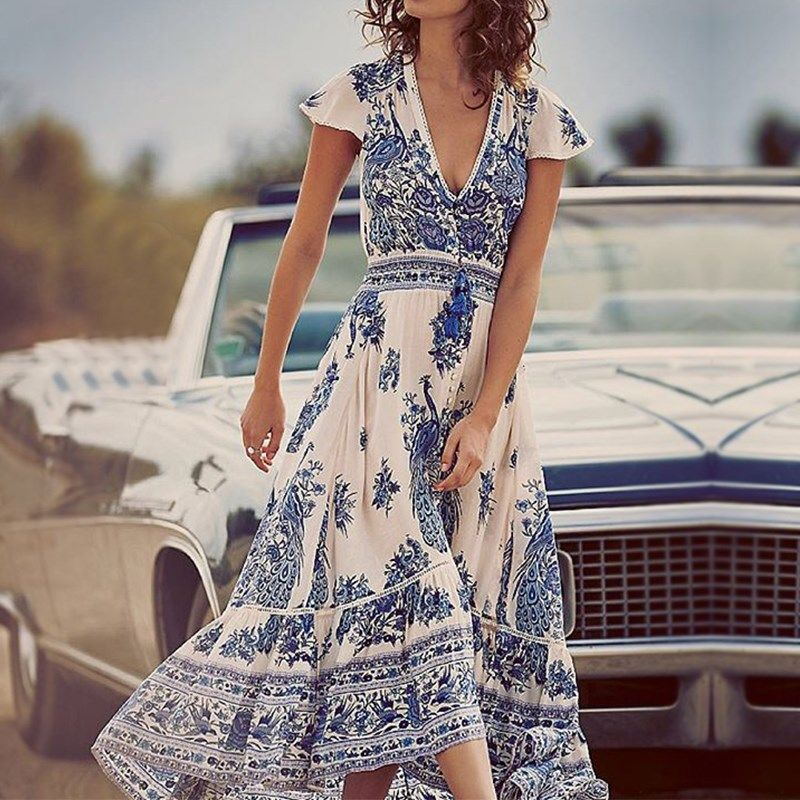 New Arrival Women Dress 2017 Bohemian Vintage Print Maxi Long Dresses Sexy Casual Deep V Neck Short Sleeve Tassel Beach Vestidos