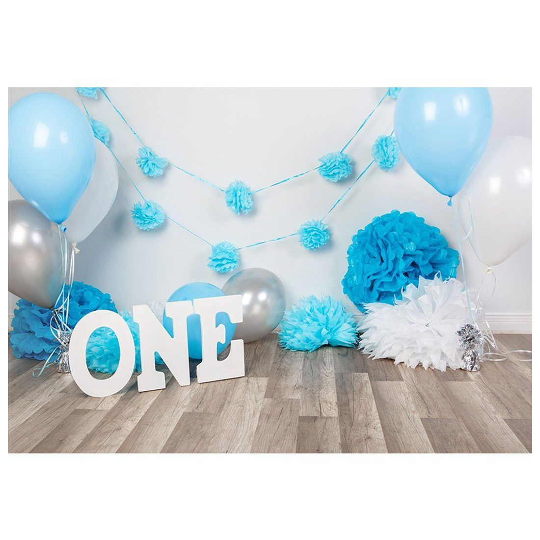 7x5ft Photography Backdrops baby boys 1st Birthday Blue balloons flowers party banner studio booth background photocall