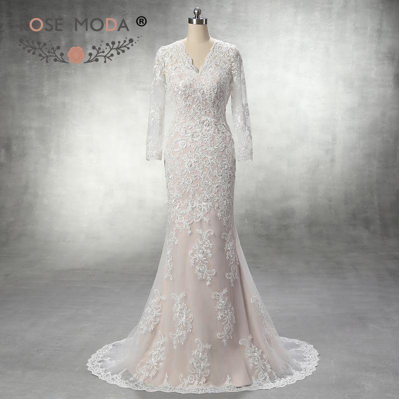 Rose Moda Long Sleeves Lace Wedding Dress Ivory over Blush Mermaid Wedding Dresses 2018