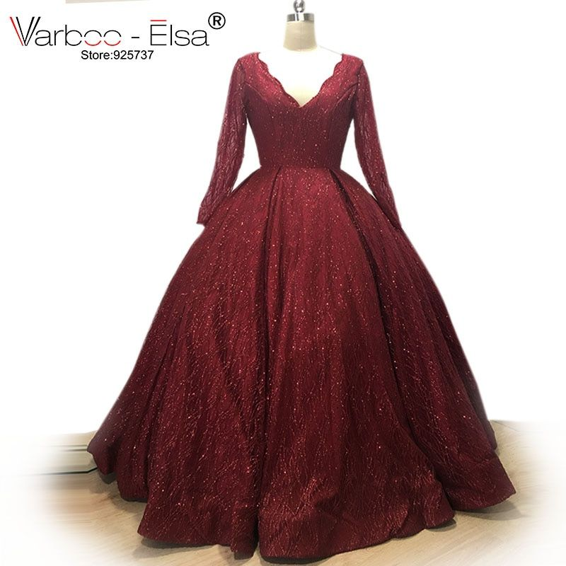 VARBOO_ELSA Bling Bling Red Sequin Evening Dresses 2018 Real Photo Long Evening Dresses V neck Ball Gown Party Dress Custom Made