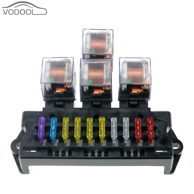 Auto Car Boat 10 Way Circuit Standard Blade Fuse Box Block Holder 5 Pin Relay Socket Combo Set M Size