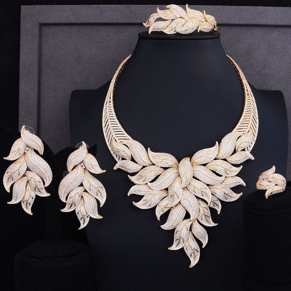 GODKI Luxury Leaf Cubic Zircon Necklace Earring Set African Nigerian Wedding jewelry Sets For Women Dubai Gold Jewelry Sets 2018