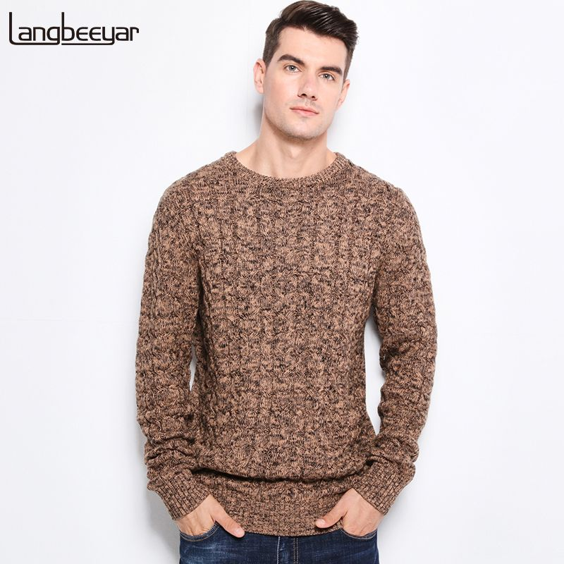 2018 New Autumn Winter Fashion Men's Sweaters Warm Thick Slim Fit Men Pullover 100% Cotton Trend Knitted Jacquard Sweater Men