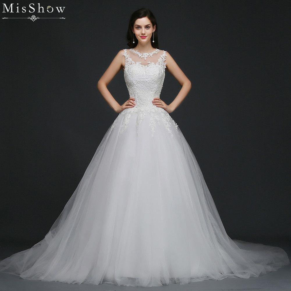 MisShow 2018 Vintage Tulle Lace Appliqued Wedding dress Customized Plus Size Ball Gown Bridal Dress 2 Colors Vestido De Noiva