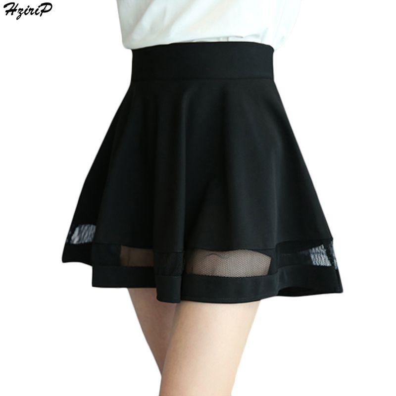 2017 Summer New Arrival Casual Women Shorts Skirts High Waist Mesh A-line Pleated Skirt Women Mini Skirt Feminina Bermudas S-XXL