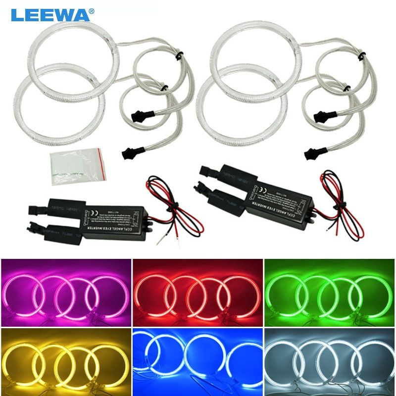 LEEWA 4X106mm Car CCFL Halo Rings Angel Eyes LED Headlights for BMW E46 2D/Z3 95-02 Coupe/Roadster DRL White/Blue/Yellow #CA4154