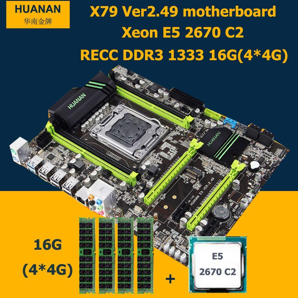 HUANAN motherboard CPU RAM set X79 V2.49 PCI-E NVME SSD M.2 port Xeon E5 2670 C2 (4*4G)16G DDR3 RECC MAX support 4*16G memory