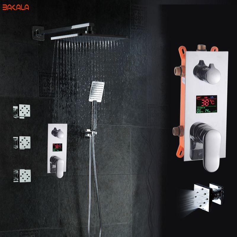 Bad ShowerSet 3 Funktionen massage jets LED DigitalDisplay Dusche Mischer Verborgen Dusche Wasserhahn 8 Zoll Regen Dusche Kopf