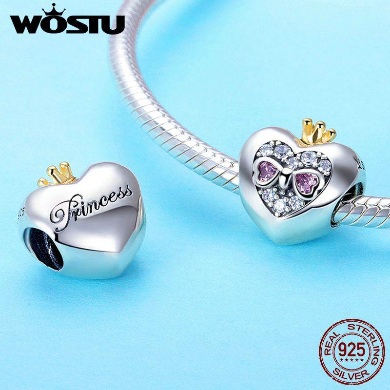 100% Réel 925 Sterling Argent Princesse Coeur Avec Rose CZ Perles Fit Original WST Charme Bracelet Pendentifs BRICOLAGE Bijoux C734