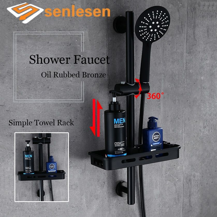 Senlesen Bathroom Shower Faucet Oil Rubbed Bronze Wall Mounted Hot and Cold Water Mixer Tap Single Handle Para Bath Shower