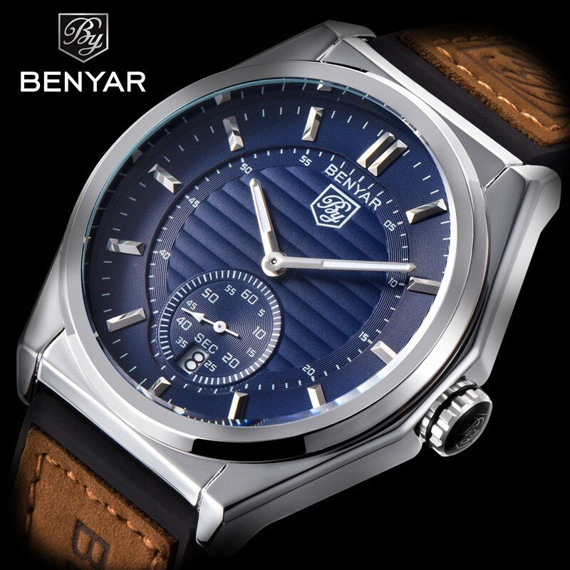 2018 <font><b>BENYAR</b></font> New Fashion Mens Watch Top Brands Luxury Stainless Steel Military Leather Waterproof Quartz Clock Relogio Masculino